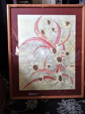 LARGE FRAMED GLAZED SIGNED ORIGINAL WATERCOLOUR PAINTING SEA HOLLY & PHORMIUM